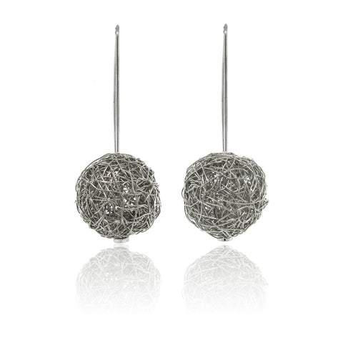 14k White Gold Round Shape Mesh Earrings