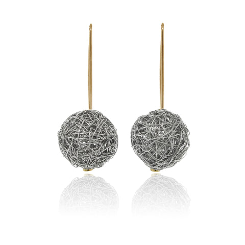 14k Yellow and White Gold Round Shape Mesh Earrings