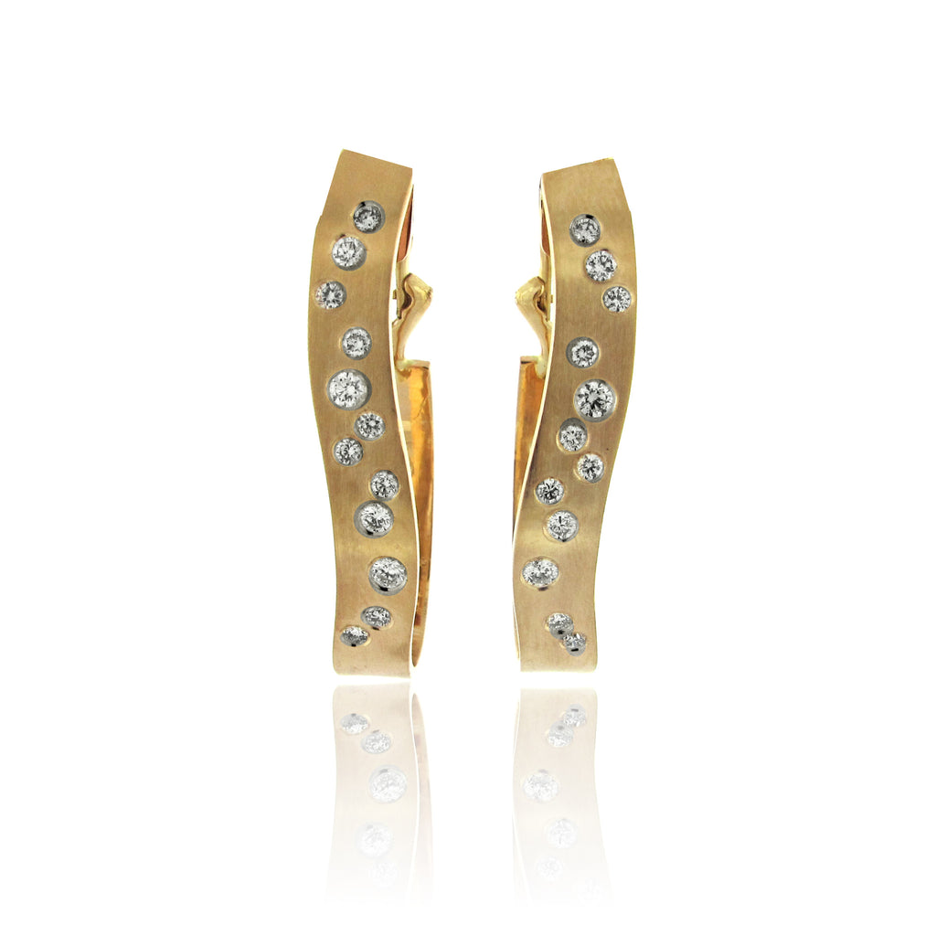 14k Yellow Gold Wave Diamond Earrings
