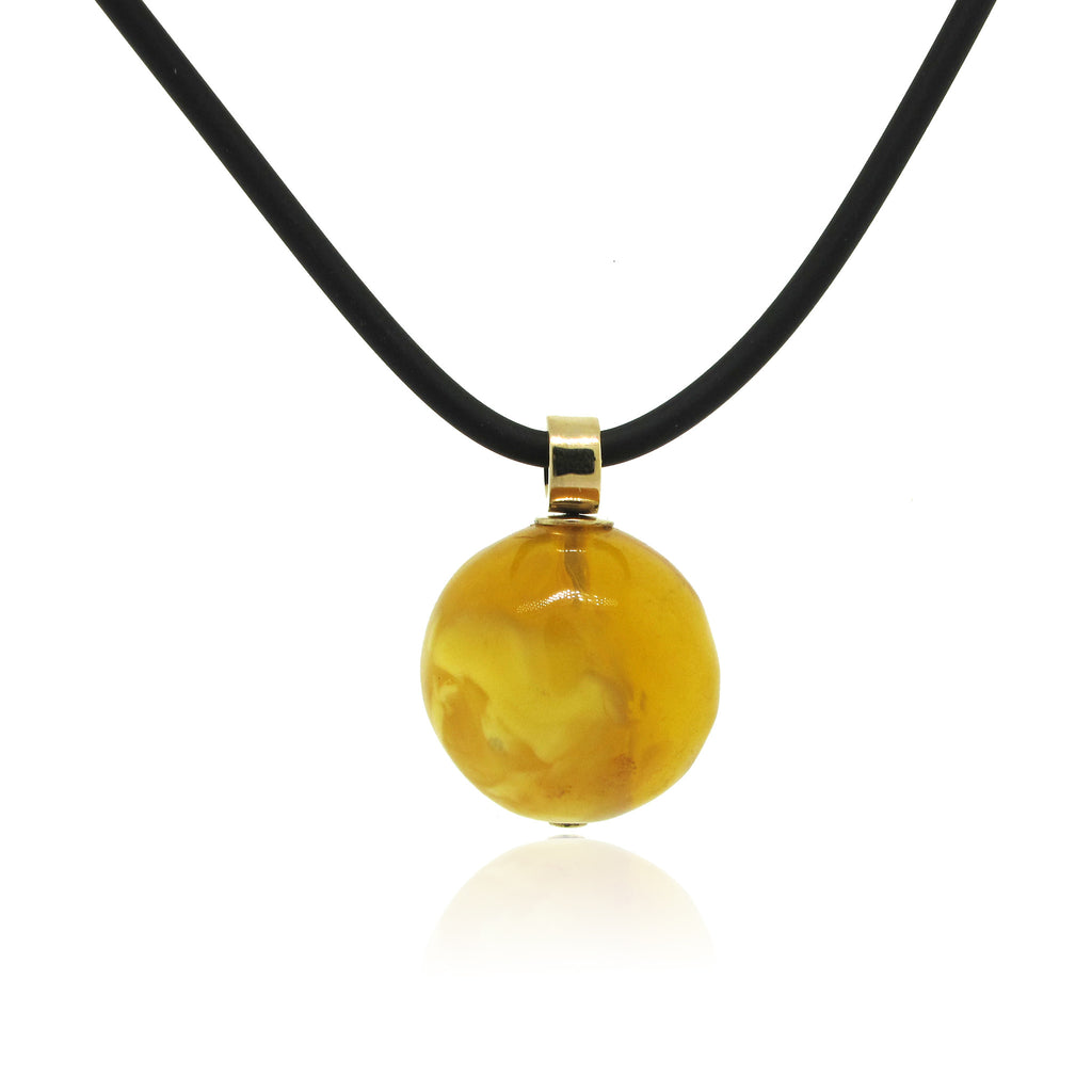 Butterscotch Amber Sphere Pendant with 14k Yellow Gold Bail