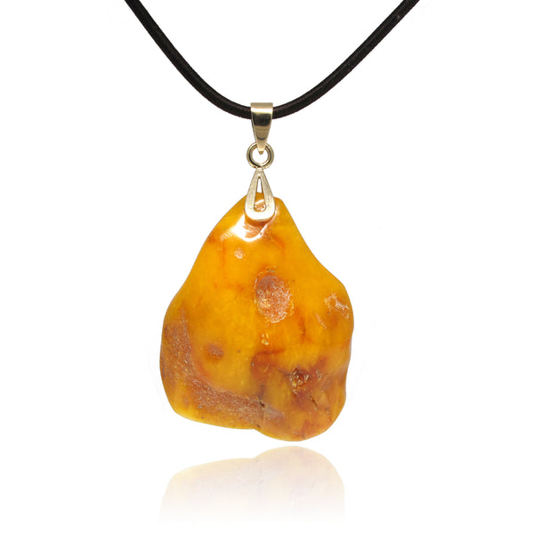 Butterscotch Amber Pendant in Organic Shape with 10 Yellow Gold Bail