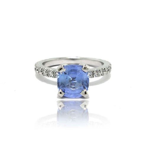 14K W/G Light Cornflower Blue Sapphire and Diamond Ring