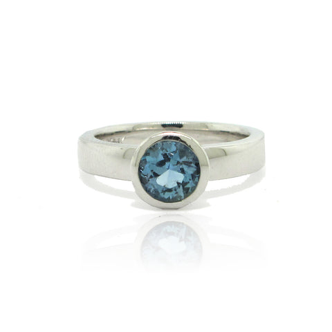 Aquamarine White Gold Ring in Bezel Setting