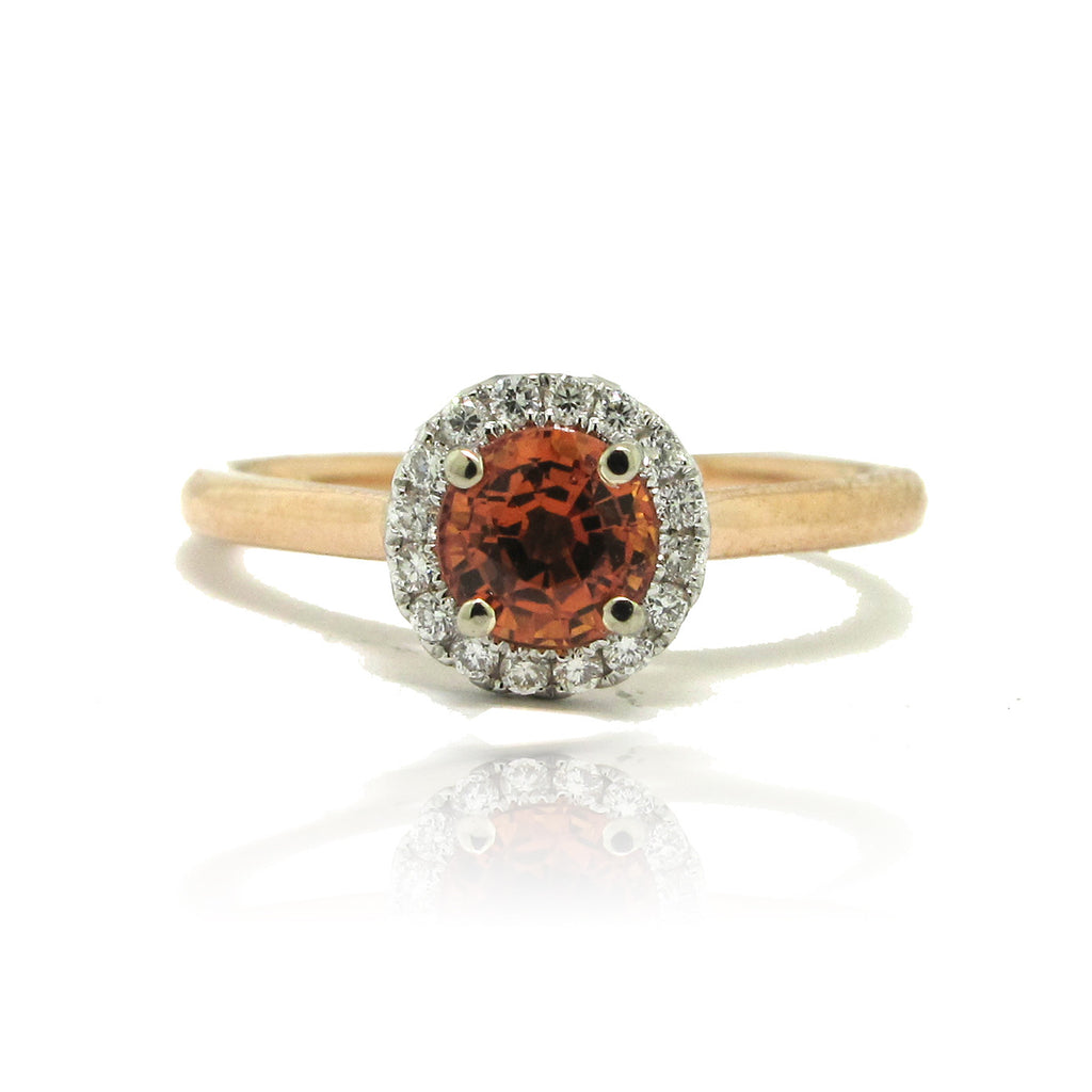 14k Rose Gold and White Gold Orange Sapphire Halo Ring
