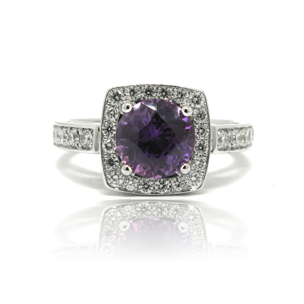 Purple Sapphire Halo Engagement Ring