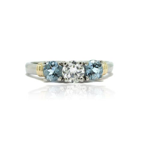 Diamond and Aquamarine 3 Stone Ring