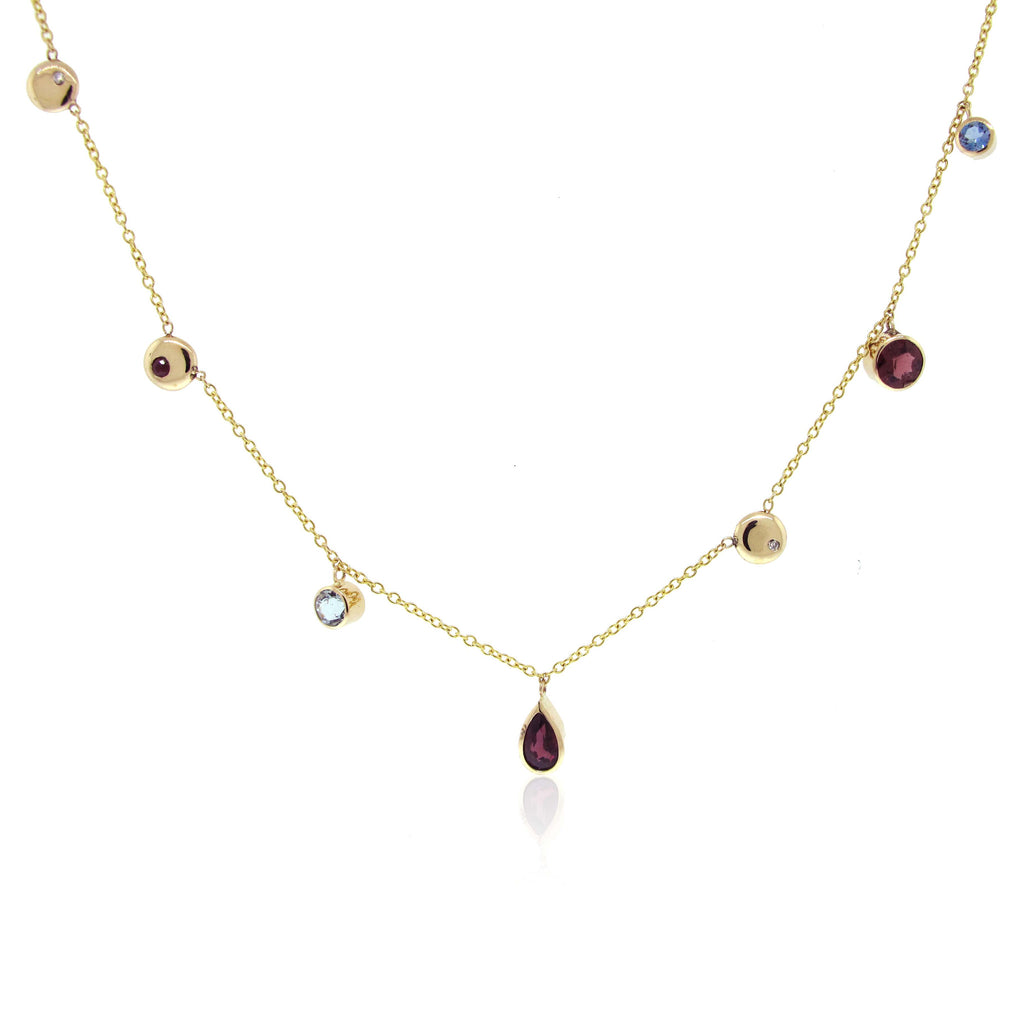 Multi Gemstone Station Necklace