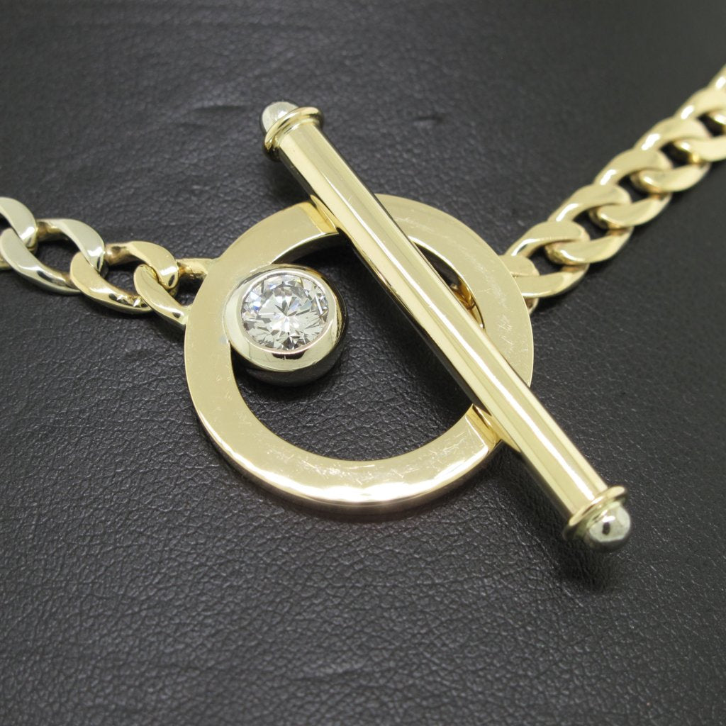Toggle Clasp Diamond Necklace with Curb Link Chain