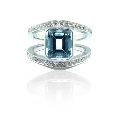 Emerald Cut Aquamarine and Diamond Split Shank Ring