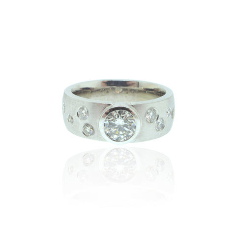 14K W/G Bezel and Gypsy set Diamond Ring