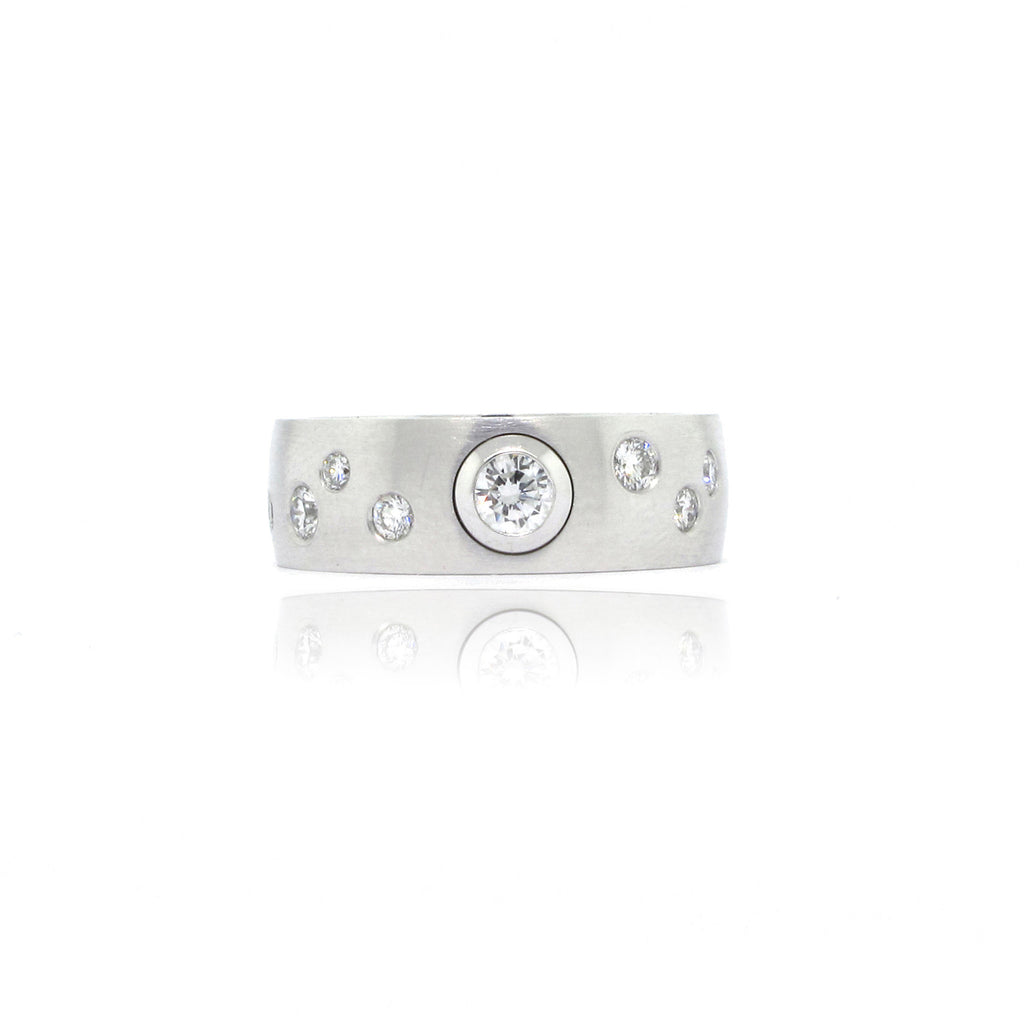 14k White Gold Bezel and Gypsy Set Ring
