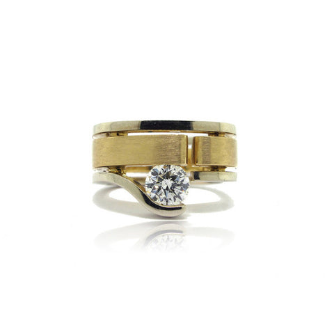 14K W/G & 18K Y/G Faux Tension Diamond Ring