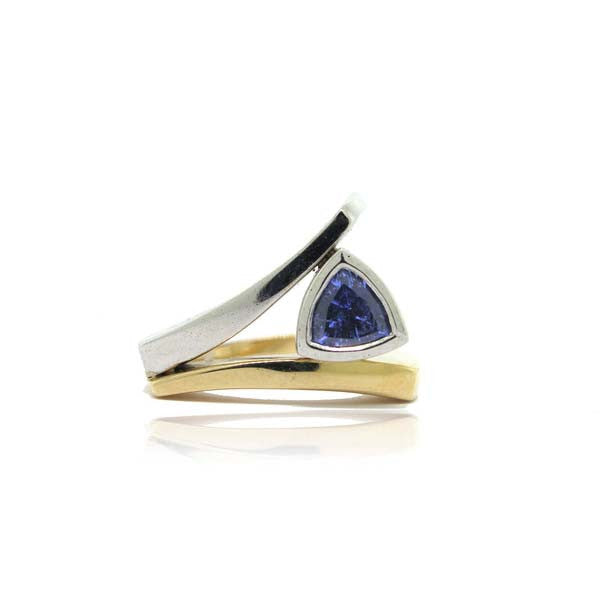 14K Yellow and White Gold Sapphire Ring