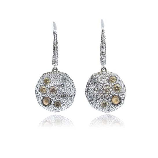 14k White Gold Etruscan Diamond Earring
