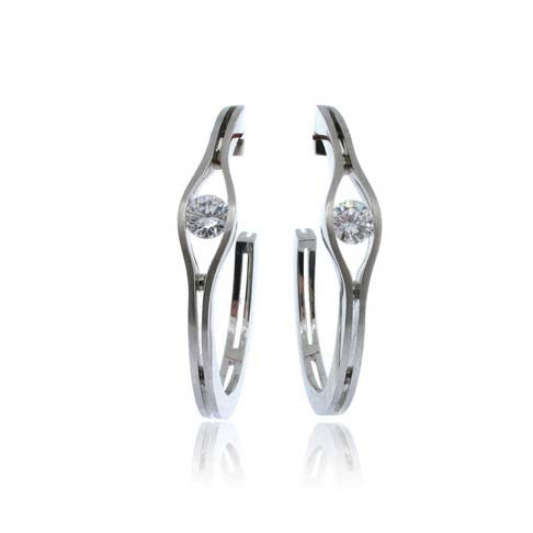 14k White Gold Hoop Earring