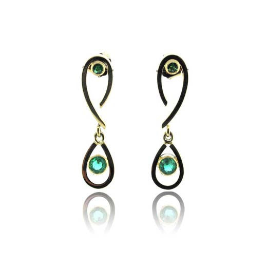 18k Yellow Gold  Emerald Drop Earrings