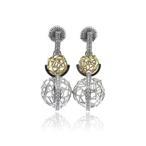 14k White/Yellow Gold Double Ball Diamond Earrings