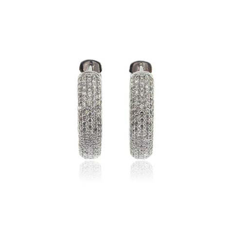 18k White Gold Diamond Hoop Earring