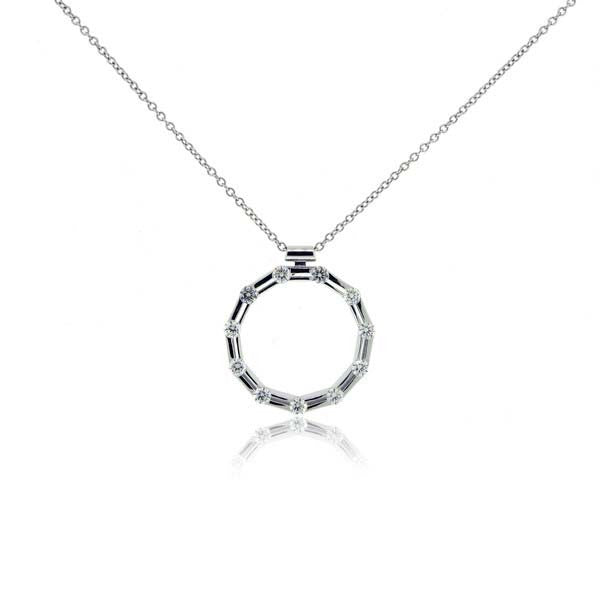 18k White Gold Diamond Circle Pendant