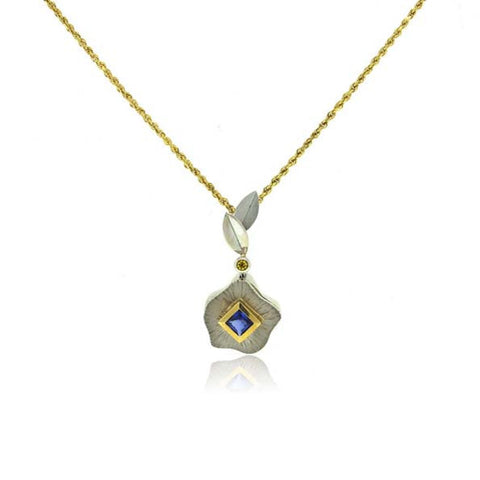 14K and 18K White and Yellow Gold Blue Sapphire Pendant