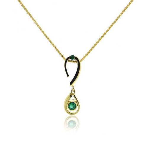 18k White and Yellow Gold Emerald Pendant