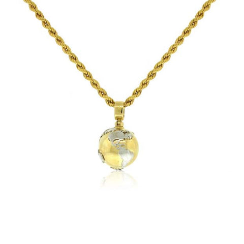 18k White/ Yellow Gold Globe Pendant