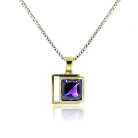 14K White and Yellow Gold Amethyst Pendant