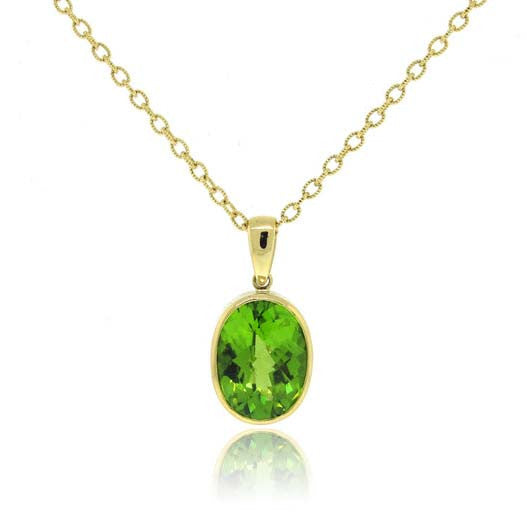 18k Yellow Gold Peridot Pendant