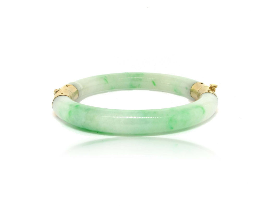14k Yellow Gold Jadeite Bangle