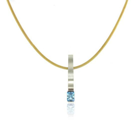 14k Gold Wave Aquamarine Necklace