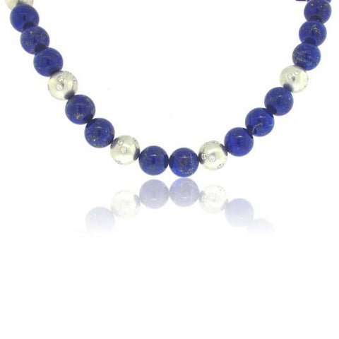 Lapis Lazuli and 14k White Gold Necklace