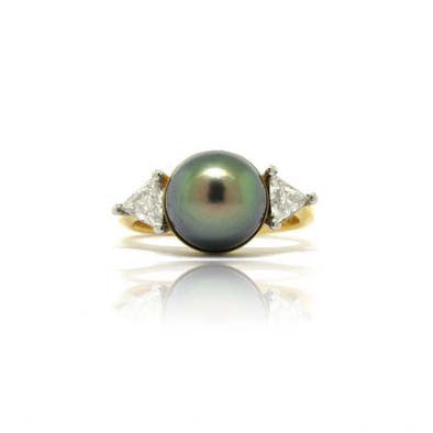 18k White and Yellow Tahitian Pearl Ring