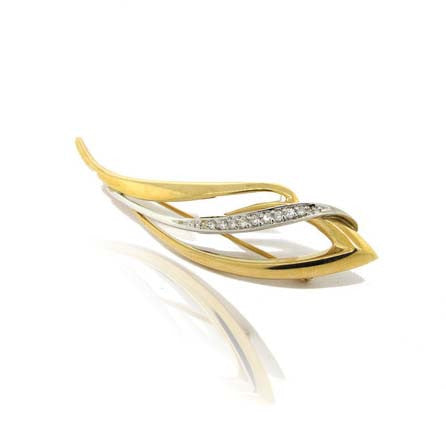 14k White and Yellow Gold Diamond Brooch