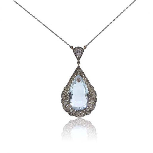 Antique Aquamarine, Silver and White Gold Necklace