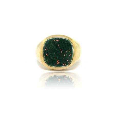 14k Yellow Gold Bloodstone Signet Ring