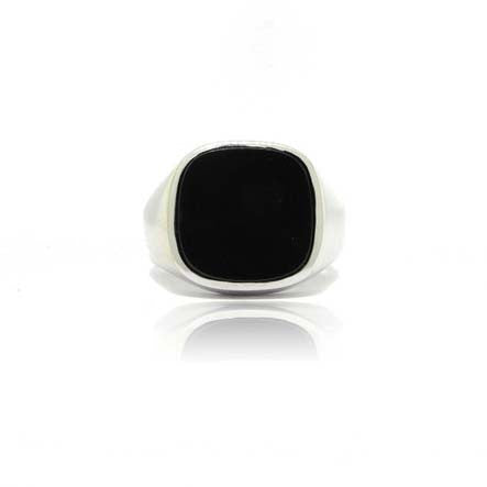 14k White Gold Square Onyx Signet Ring