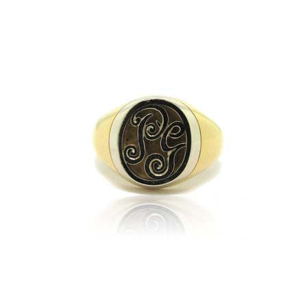 18k White and Yellow Gold Signet Initial Ring
