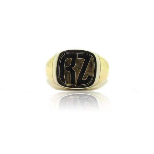 18k Yellow and White Gold Inital Signet Ring