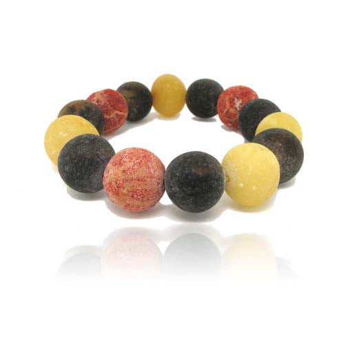 Multi Colour Amber and Coral Bracelet