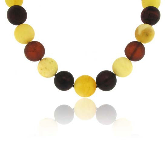 Graduated Amber Necklace Multi Coloured 21