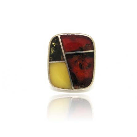 Multi Colour Amber and Silver Ring
