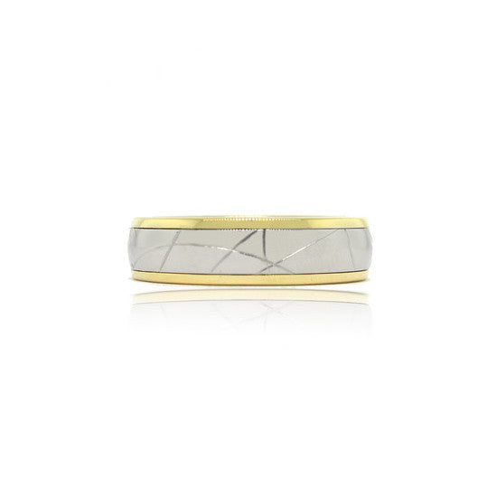 14k Yellow and White Gold Scratch Ring