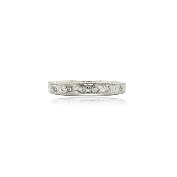 14k White Gold Engraved Diamond Ring