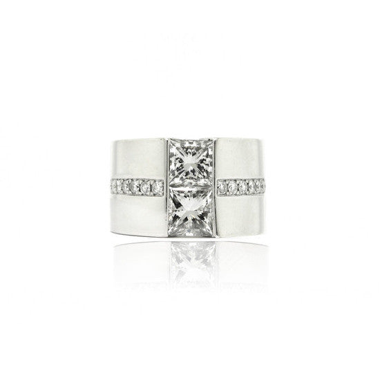 Double Tension Platinum Diamond Ring