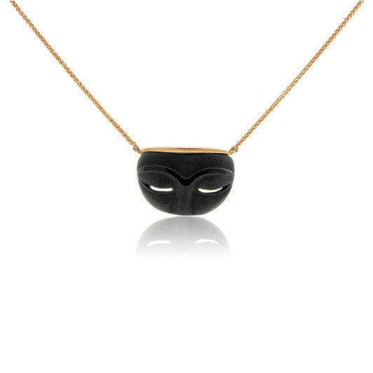 14k Rose Gold Onyx Hand Carved Necklace