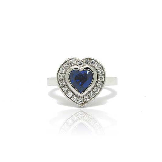 18k and 14k White Gold Sapphire Heart Ring