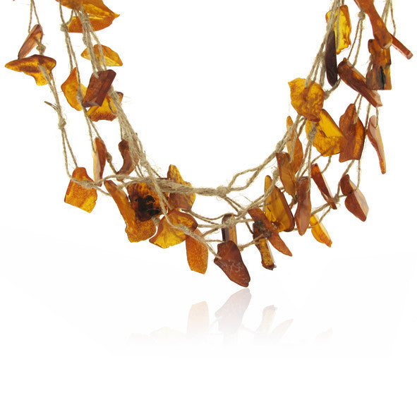 Raw Natural Amber Slab Necklace