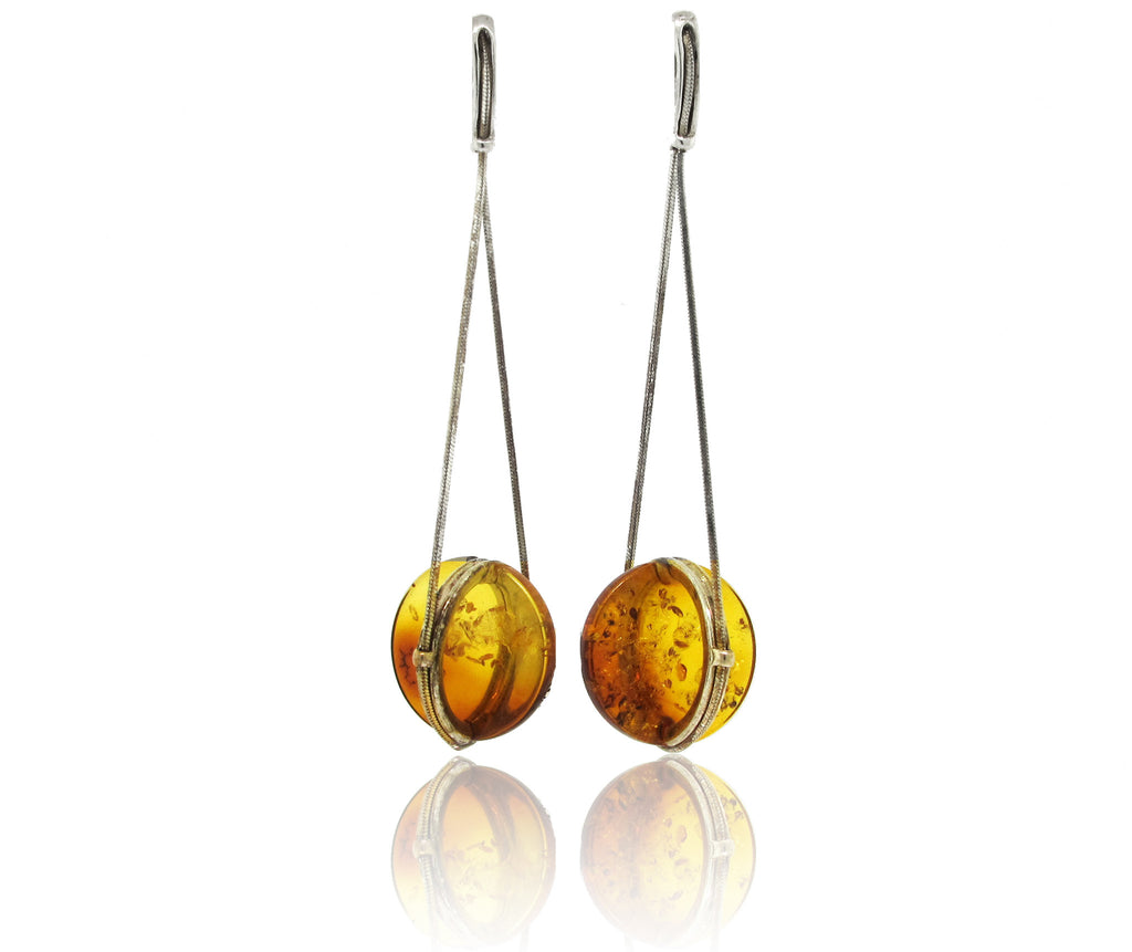 Amber and Silver Disk Earring