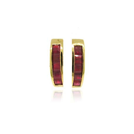 14k Yellow Gold Ruby Earrings