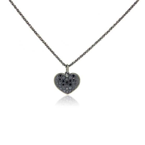 14k White Gold Black Rhodium Diamond Heart Pendant